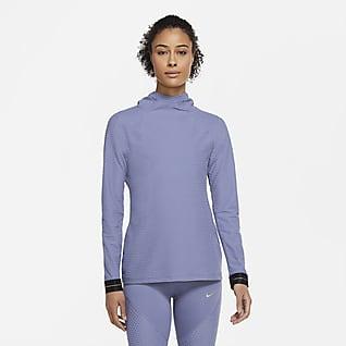 Nike Pro Icon Clash Langærmet top med hætte til kvinder