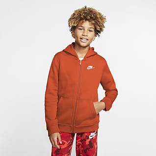 Nike Sportswear Club Sudadera con gorro de cierre completo para niños talla grande