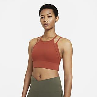 Nike Yoga Dri-FIT Indy Sujetador deportivo acolchado de sujeción ligera de líneas largas para mujer