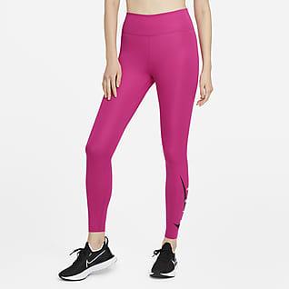 Nike Swoosh Run 7/8-Lauf-Leggings mit halbhohem Bund für Damen