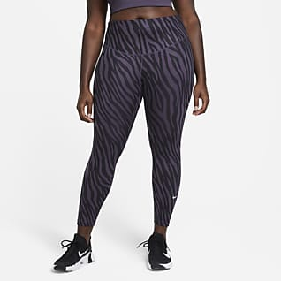 Nike One Icon Clash Mönstrade leggings i 7/8-längd för kvinnor (Plus size)