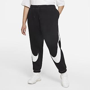 Nike Sportswear Swoosh Calças desportivas de lã cardada com corte prático para mulher (tamanho Plus)