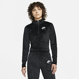 Nike Air Maglia a manica lunga in velour con zip a 1/4 - Donna