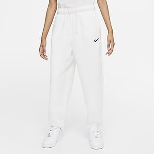 Nike Sportswear Collection Essentials Calças de corte arredondado de lã cardada para mulher