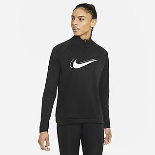 Nike Dri-FIT Swoosh Run Tussenlaag-hardlooptop met halflange ritssluiting voor dames