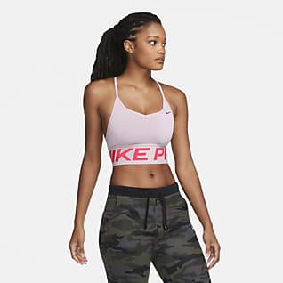 Nike Pro Indy Enyhe tartást adó, párnázott, hosszított női sportmelltartó