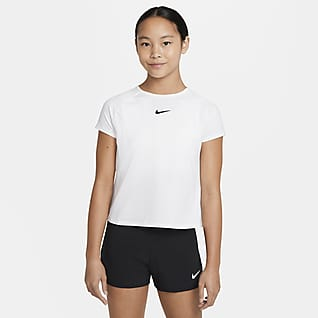NikeCourt Dri-FIT Victory Tennistop met korte mouwen voor meisjes