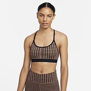 Nike Dri-FIT Indy Icon Clash Sports-BH med innlegg, T-rygg og lett støtte til dame