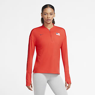 Nike Team USA Camisola de running com fecho até meio para mulher