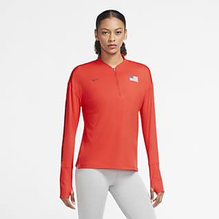 Nike Team USA Damen-Laufoberteil mit Halbreißverschluss