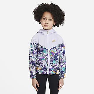 Nike Sportswear Windrunner Chamarra impresa de cierre completo para niños talla pequeña