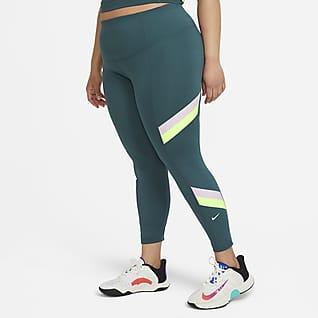 Nike One Leggings con rayas y diseño Color Block de tiro medio de 7/8 para mujer talla grande