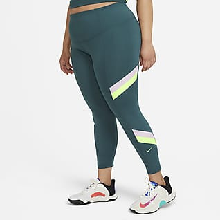 Nike One Women's Mid-Rise 7/8 Color-Blocked Stripe Leggings (Plus Size)