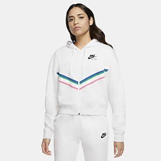 Nike Sportswear Heritage Fleecetröja med dragkedja i fullängd för kvinnor