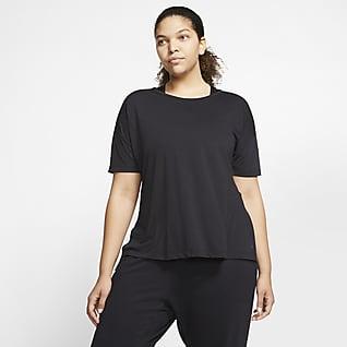 Nike Yoga Kısa Kollu Kadın Üstü (Büyük Beden)