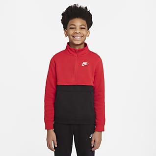 Nike Sportswear Club Футболка с молнией на половину длины для мальчиков школьного возраста