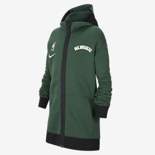 Milwaukee Bucks Showtime Sudadera con capucha Nike Therma Flex de la NBA - Niño/a