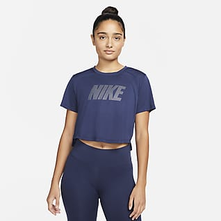 Nike Dri-FIT One Korte damestop met graphic, standaardpasvorm en korte mouwen