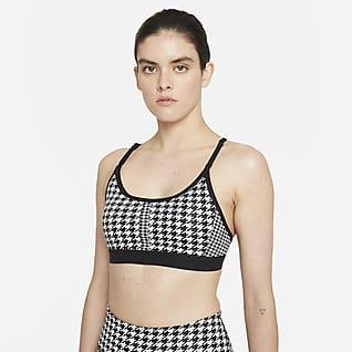 Nike Dri-FIT Indy Icon Clash Bra imbottito a sostegno leggero con spalline a T - Donna