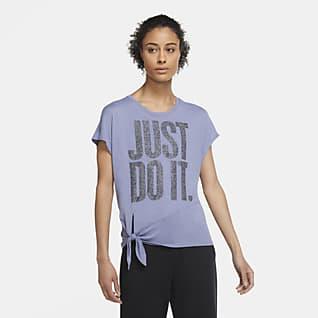 Nike Dri-FIT Γυναικεία μπλούζα προπόνησης με δέσιμο και γυαλιστερή όψη