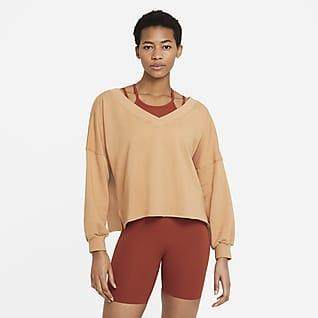 Nike Yoga Luxe Maglia in fleece con scollo a V - Donna