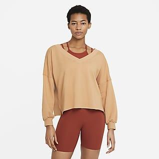 Nike Yoga Luxe Fleece-Oberteil mit V-Ausschnitt für Damen