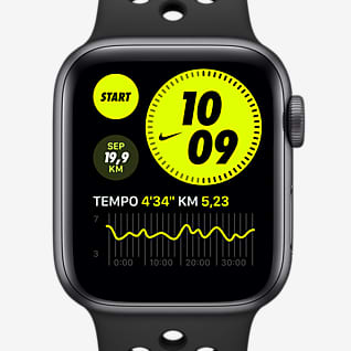 Apple Watch Nike Series 6 (GPS + Mobilfunk) mit Nike Sportarmband 44-mm-Aluminiumgehäuse in Space Grey