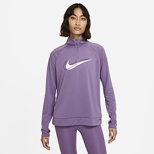 Nike Dri-FIT Swoosh Run Løbemellemlag med halv lynlås til kvinder