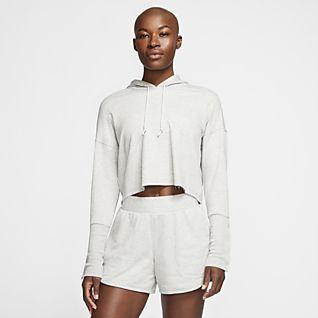 Nike Yoga Luxe Γυναικεία μπλούζα με κουκούλα σε κοντό μήκος