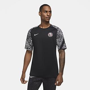 Club América Camiseta de fútbol de manga corta para antes del partido para hombre
