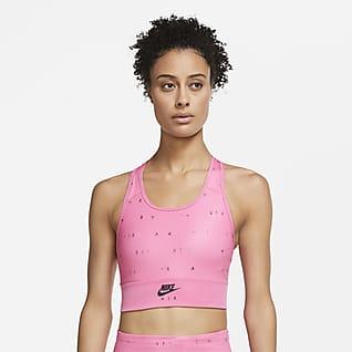 Nike Air Swoosh Prodloužená dámská sportovní podprsenka se střední oporou, potiskem a jednodílnou vycpávkou