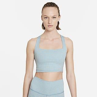 Nike Yoga Damska koszulka w kratę bez rękawów o skróconym kroju