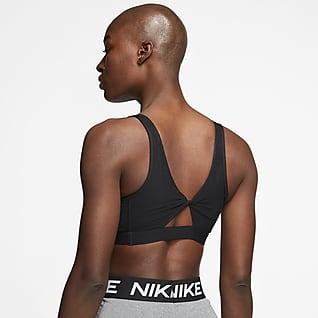 Nike Yoga Sports-bh med snoet nøglehulsåbning og let støtte til kvinder