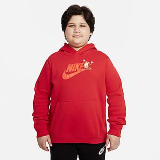 Nike Sportswear Club Sudadera con gorro sin cierre con gráfico para niños talla grande