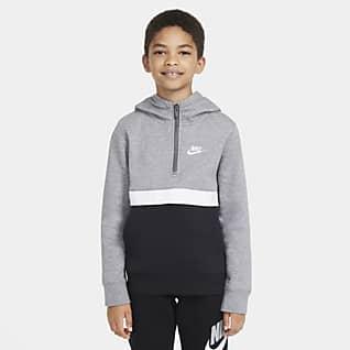 Nike Sportswear Club Mikina s kapucí a polovičním zipem pro větší děti (chlapce)