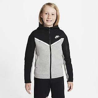 Nike Sportswear Tech Fleece Tam Boy Fermuarlı Genç Çocuk (Erkek) Kapüşonlu Üst