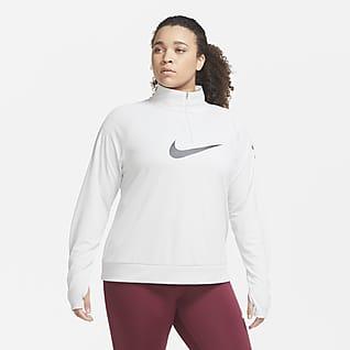 Nike Swoosh Run Camiseta de running de medio cierre para mujer (talla grande)