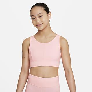 Nike Swoosh Luxe Спортивное бра с удлиненной конструкцией для девочек школьного возраста