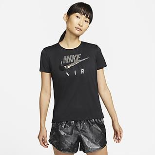 Nike Air Dri-FIT Kortærmet løbeoverdel til kvinder