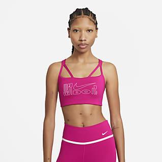 Nike Dri-FIT Indy Icon Clash Bra imbottito a sostegno leggero con spalline incrociate - Donna