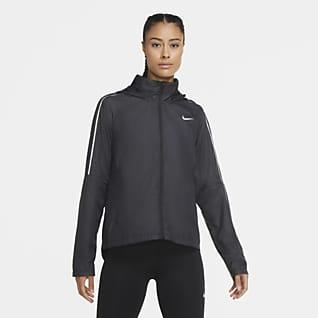 Nike Shield løpejakke til dame med hel glidelås