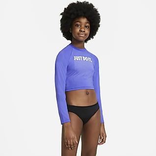Nike JDI Camiseta corta de natación Hydroguard de manga larga para niña talla grande