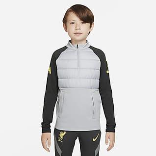 Liverpool FC Academy Pro Winter Warrior Fotbalové tréninkové tričko Nike Therma-FIT pro větší děti