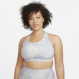Nike Dri-FIT Swoosh Icon Clash Bra stampato non imbottito a sostegno medio (Plus size) - Donna