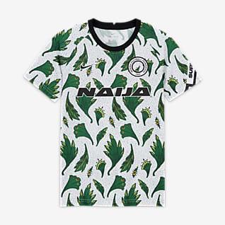 Nigeria Camiseta de fútbol de manga corta para antes del partido para niños talla grande