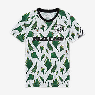 Nigeria Older Kids' Pre-Match Short-Sleeve Football Top
