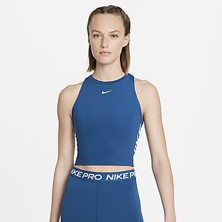Nike Pro Dri-FIT Verkürztes Grafik-Tanktop für Damen