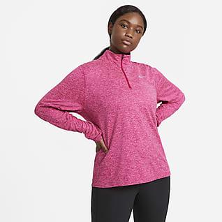 Nike Camiseta de running con media cremallera (Talla grande) - Mujer