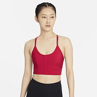 Nike Yoga Dri-FIT Indy Спортивное бра с вкладышем, удлиненной конструкцией и легкой поддержкой