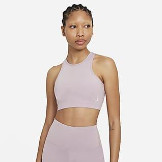 Nike Yoga Dri-FIT Swoosh Bra deportivo de cuello alto con almohadilla de una sola pieza de sujeción media para mujer